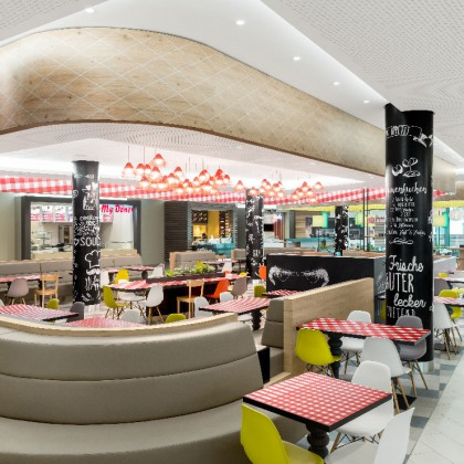 Mall Photography - Markus Kratz - Interior Photography - Minto Mönchengladbach - mfi Unibail Rodamco - Highlightfassade - Food Court Küche